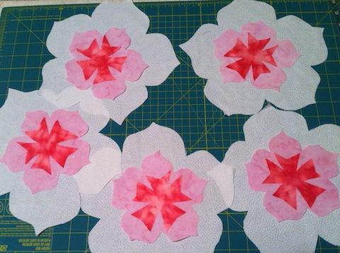 White five-petaled flowers